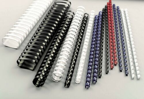 5 Swirls Plastic 21 rings for Binding Black 14 sizes available