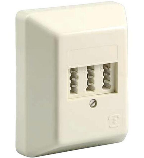 Telefondose Aufputz [Telefon Dose]; TAE NFF | für 2x Telefon und 1x Fax
