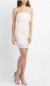 053de28a1f Charlotte Russe Size S White Dress Party Crochet Ruffle-Trim Bodycon ...