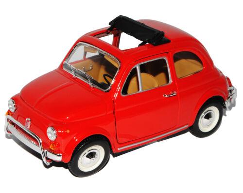 Fiat 500l Klassik rojo ur modelo a partir de 1957 18-22099 1//24 Bburago modelo coche con...