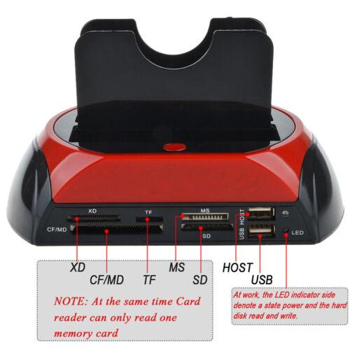 """HDD Docking Station mit zwei Festplatten für 2,5/"""" 3,5/"""" IDE SATA USB 2.0 Hub DE"""