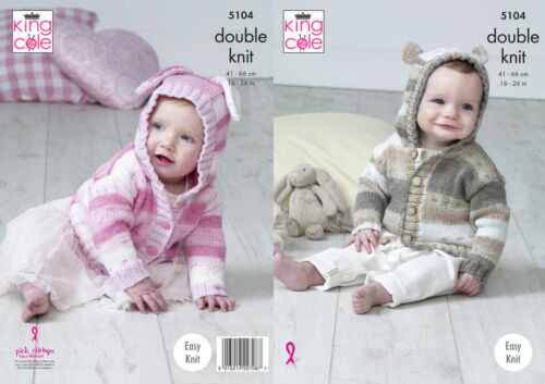 King Cole DK  Knitting Pattern 5104:Easy Knit Bunny//Teddy Ears Hooded Jackets