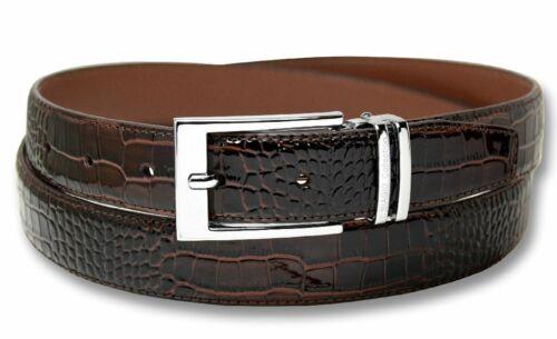 Biagio Croc Emboss DARK BROWN Mens Bonded Leather Belt Silver-Tone Buckle sz 40