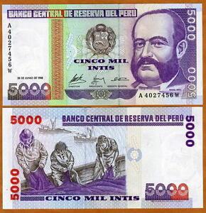 Peru-5000-Intis-1988-A-prefix-P-137-UNC