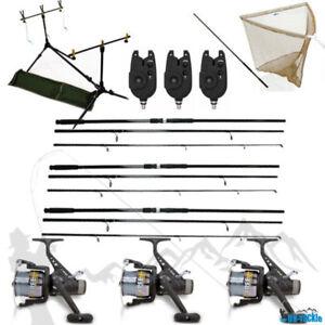 Kit-de-Peche-3-X-3-teilige-Carpe-Canne-3-60m-3-Rouleaux-3-Indicateur-Rodpod-D