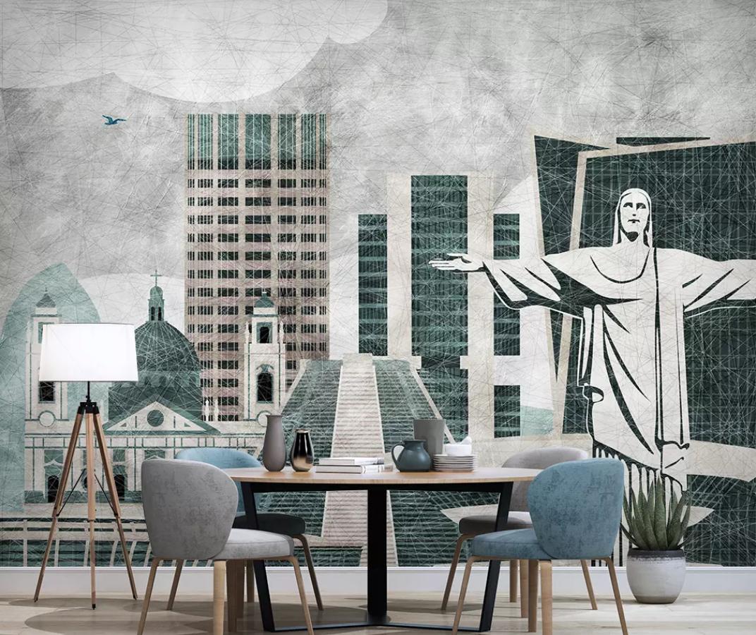 3D Gebäude Malen H1735 Tapete Wandbild Selbstklebend Abnehmbare Aufkleber Wend