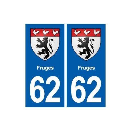 62 Fruges blason autocollant plaque stickers ville droits