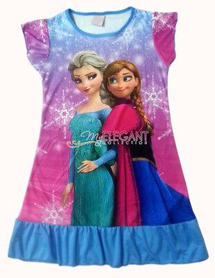 Disney Frozen Elsa & Anna Children Kids Girls Dress Pajama Nightgown 3-10 Blue
