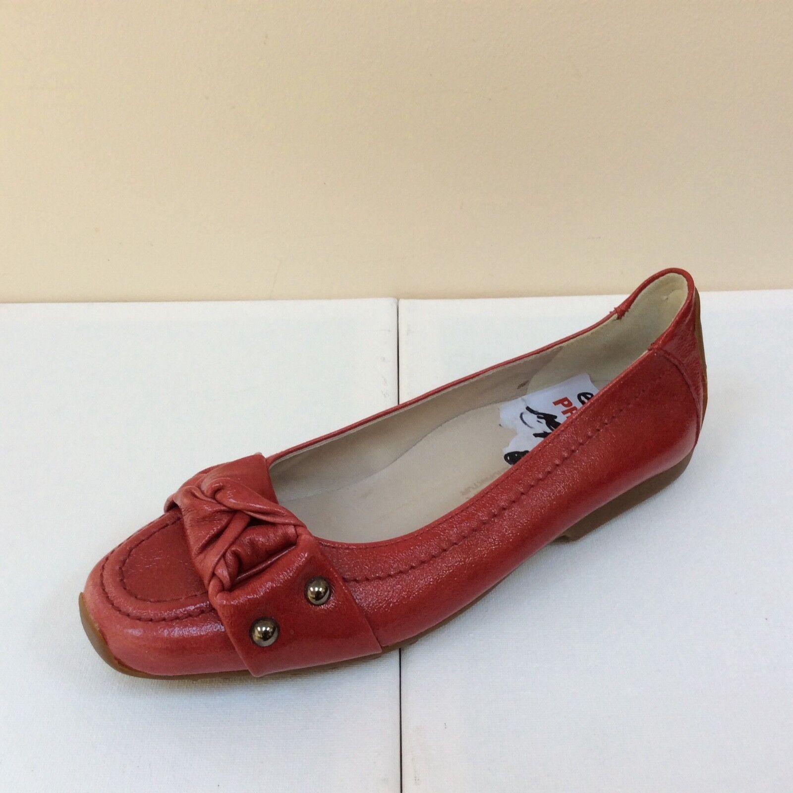 K&s SUSA rouge Verni Plat Avec Vernis Noeud Détail, UK 3 eu 36, BNWB