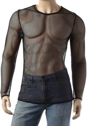 Mens Long Sleeve Mesh Top Round Neck Small Hole Fishnet T-Shirt #306