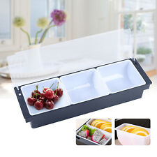Bar Top Food Amp Condiment Dispenser 3 Tray Plastic Garnish Station With Lid Usa