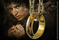 LOTR The One Ring Gold Plated Costume Fancy Dress Cosplay Prop & Chain by Noble