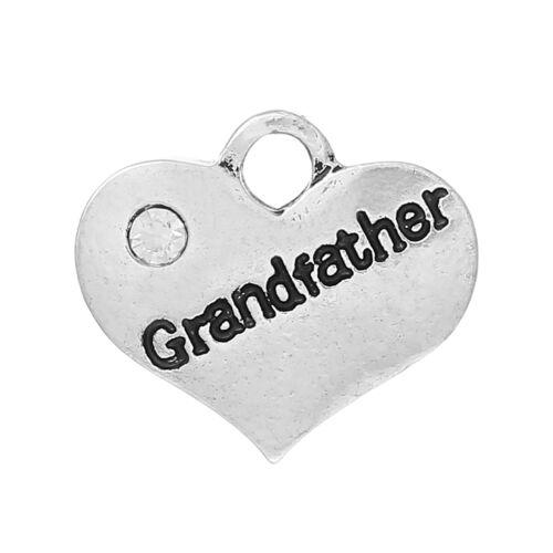 UK 35 5 ANTIQUE SILVER GRANDFATHER RHINESTONE HEART CHARMS ~ WEDDING~BIRTHDAY