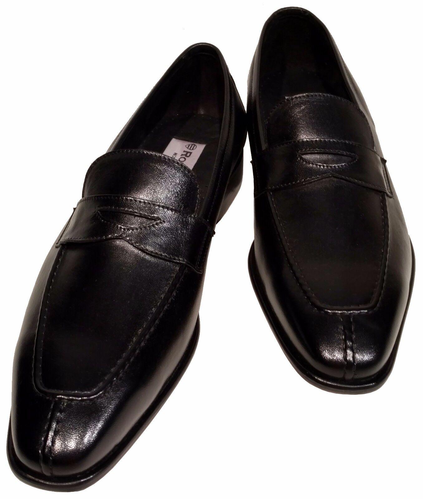 Men's Ronaldo Solid nero Italian Premium Leather Slip On Loafer Dress scarpe