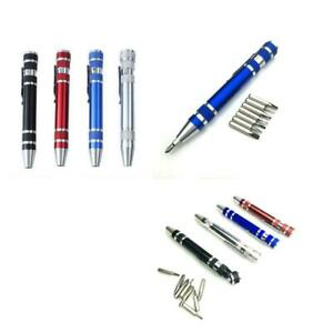 Pocket-Precision-Mini-Alloy-8-in-1-Slotted-Bits-Screwdriver-Set-Pen-Repair-U4J2