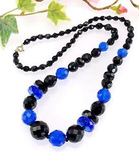 Vintage Black & Blue French Jet Glass Bead Necklace - 63 cm