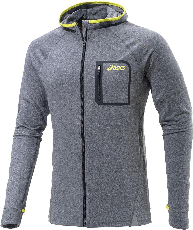 Asics Men's Sports Hoodie Fuji Full Zip Long Sleeve Hoodie - Heather Grey - New