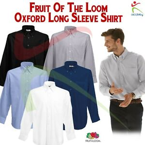 Fruit-Of-The-Loom-Mens-Long-Sleeve-Oxford-Shirt-Formal-Occasion-Classic-Workwear