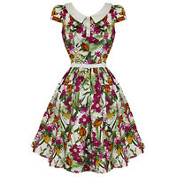 Hearts & Roses London New Pink Retro Floral Vintage 50s Party Prom Swing Dress U