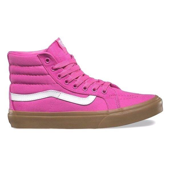 VANS Sk8 Hi Slim (Light Gum) Raspberry Rose Pink Skate Schuhes WOMEN'S 6