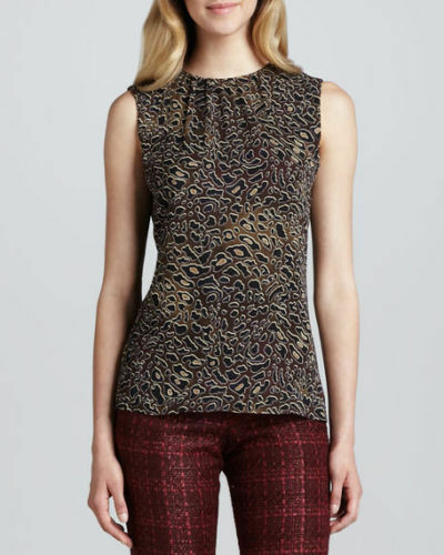 NWT TORY BURCH TANYA TOP ABSTRACT LEOPARD SLEEVELESS  BLOUSE sz 2