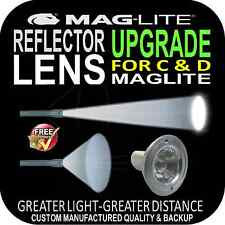 MAGLITE REFLECTOR LENS UPGRADE for FLASHLIGHT TORCH C & D SIZE PATENTED DESIGN