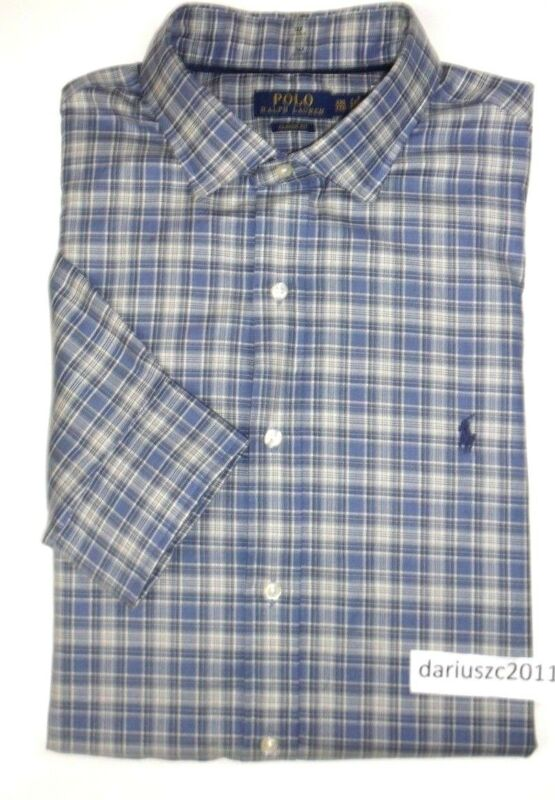 $79 Polo Ralph Lauren Classic Fit Long Sleeve Blue Check Shirt Size Xxl