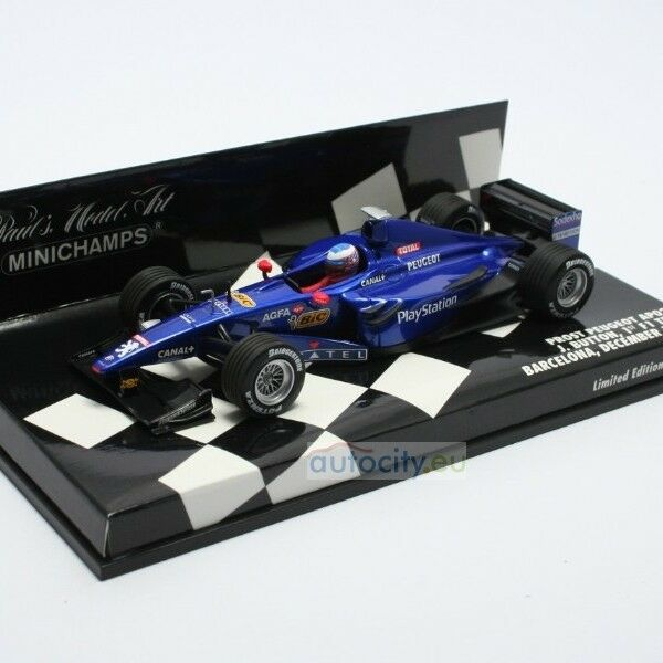 MINICHAMPS PROST PEUGEOT AP02 FIRST F1 TEST BARCELONA DECEMBER 1999 400990119