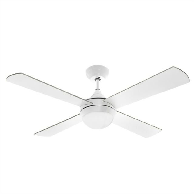 Arlec 120cm White Columbus Ceiling Fan With Led Light And Remote Control