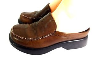 DANSKO WOMENS BROWN LEATHER SLIP ON LOW BACK CLOGS SHOES ...
