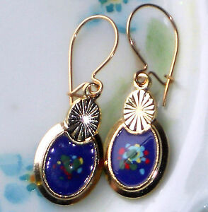 #1215T Vintage Guilloche Enamel Floral Gold Plated Flower Dangle Blue