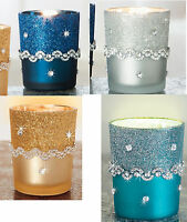 Gold Peacock Blue Silver Navy Glitter Glass Candle Holder W/ Gems Votive Led