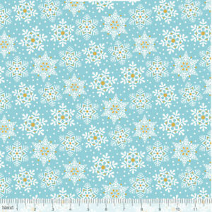 Land-of-Snow-Snowflake-Waltz-Blue-amp-Gold-Christmas-Quilting-Craft-Cotton-Fabric