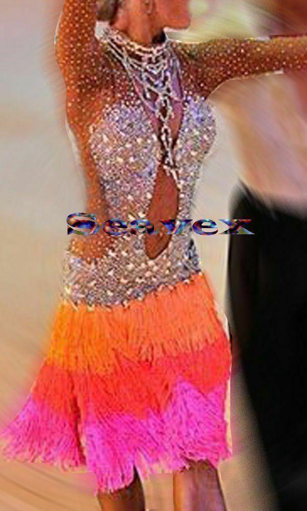 L813 women ballroom Ramba Latin /Rhythm Samba UK10 US 8 Dance Dress fringes