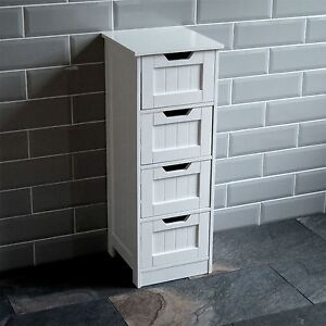 Bathroom-4-Drawer-Cabinet-Storage-Cupboard-Wooden-White-Unit-By-Home-Discount