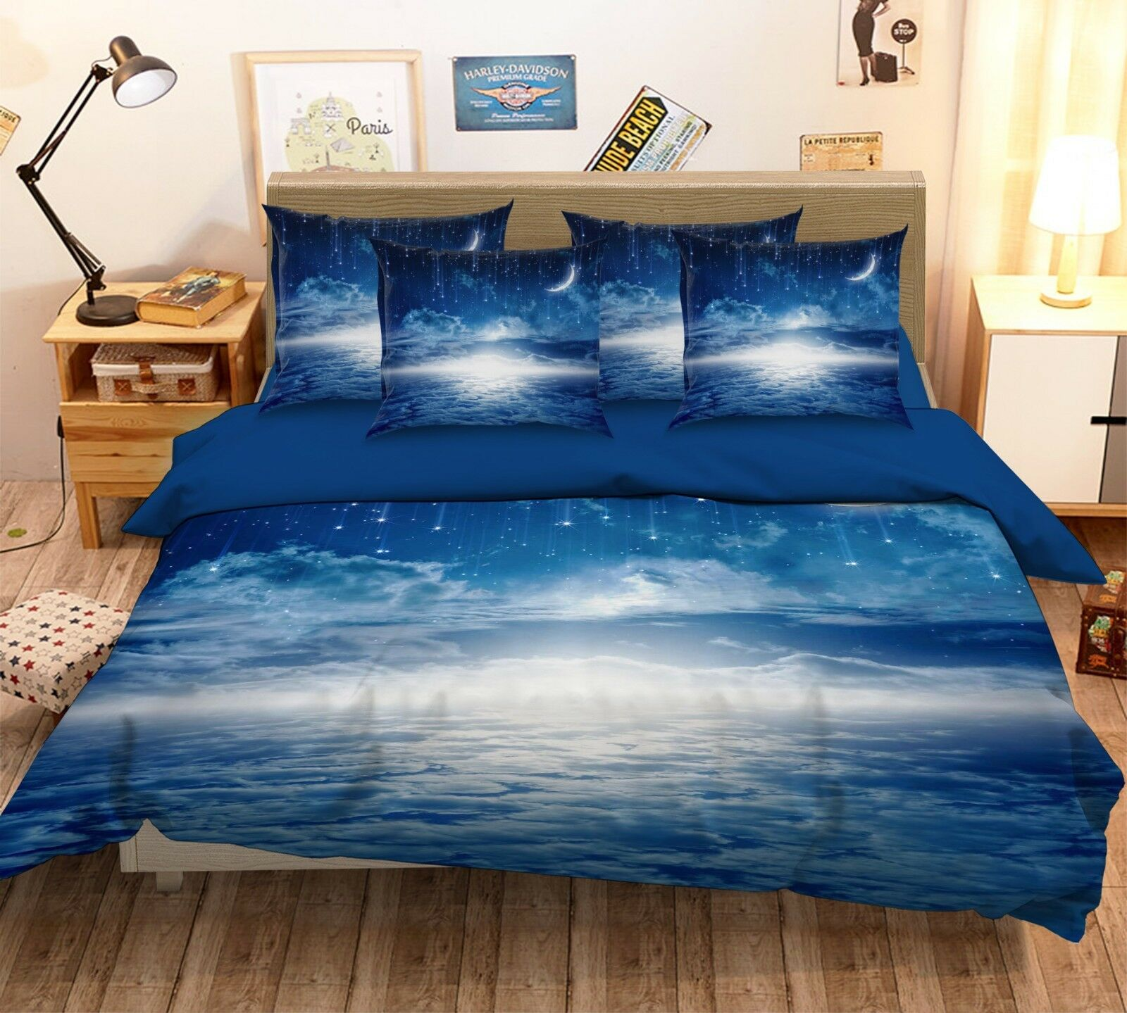 3D Moon Cloud 46 Bed Pillowcases Quilt Duvet Cover Set Single Queen King AU Cobb
