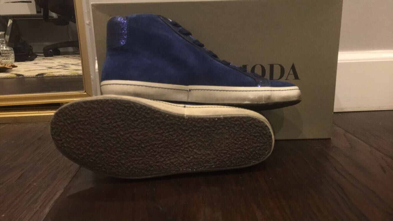 GORGEOUS   VALMY VALMY VALMY MODA blueE SUEDE INSIDE ZIPPERED HIGH TOP SNEAKER SIZE 36 6972cc