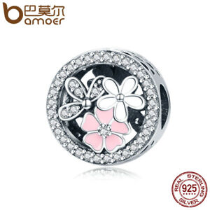 Bamoer-European-925-Silver-Charm-Pink-flowers-With-Clear-CZ-Fit-Bracelets-Chain