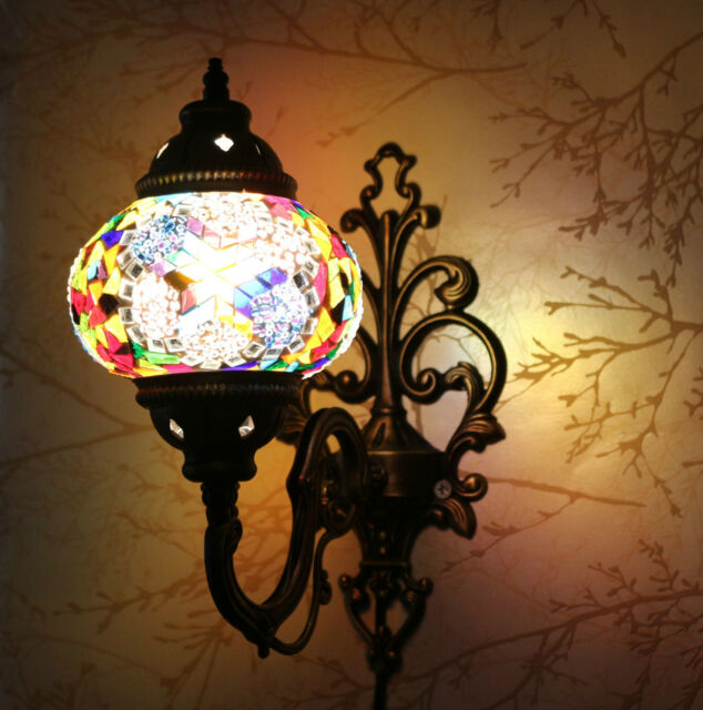 Turkish Moroccan Style Mosaic Multicolour Wall Sconce Light Lamp Large Gelobe
