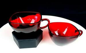 """ANCHOR HOCKING GLASS CHARM RUBY RED SQUARE 2PC 2 1/8"""" CUPS 1950-1956"""