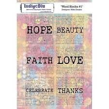 INDIGO BLUE Mike Deakin WORD BLOCKS #1 A5 Stamps IND0247