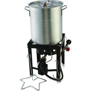 Deep fryer 30 qt turkey fryer pot gas stove propane for Fish fryer pot