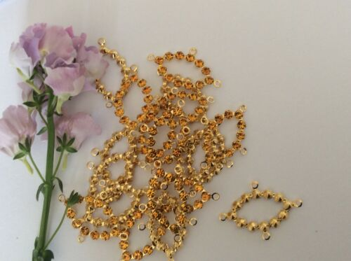 Oval 4 loop connector set with rhinestones 20x15mm x6 craft Colour Options