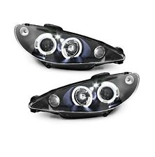 2 FEUX PHARE AVANT ANGEL EYES NOIR PEUGEOT 206 PHASE 1 EN H4