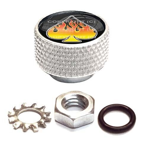 Silver Billet Aluminum Knurled Horn Cover Nut For Twin Cam Flame Spade Black