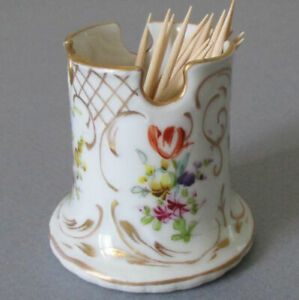 Antique DRESDEN HP Porcelain TOOTHPICK or MATCH Holder Flowers GILT Trim Marked