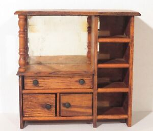 Antique-Salesman-Sample-Oak-Finish-Dresser-Doll-Cabinet
