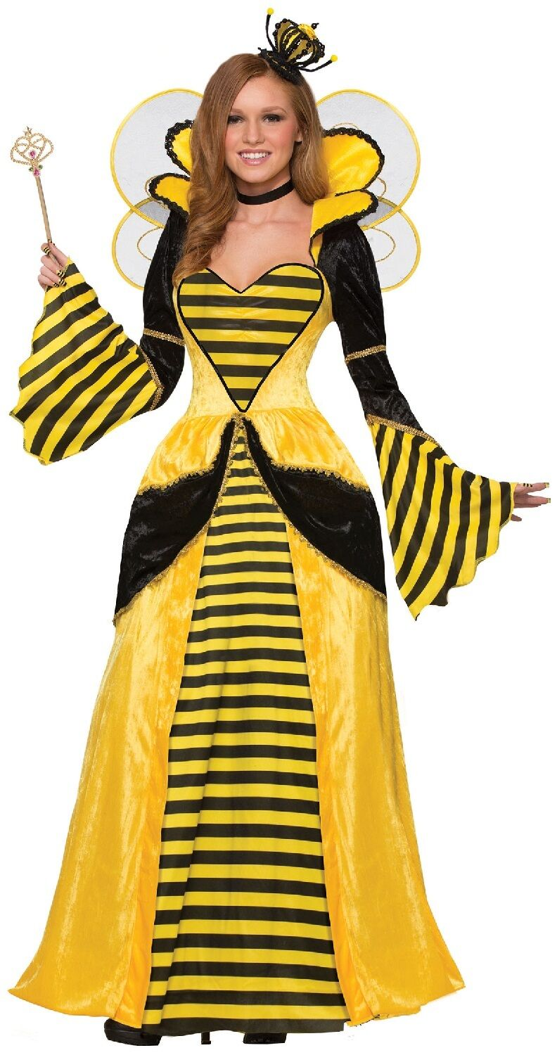 Ladies Queen Bee Long Full Length Animal Insect Fancy Dress Costume Outfit 10-14