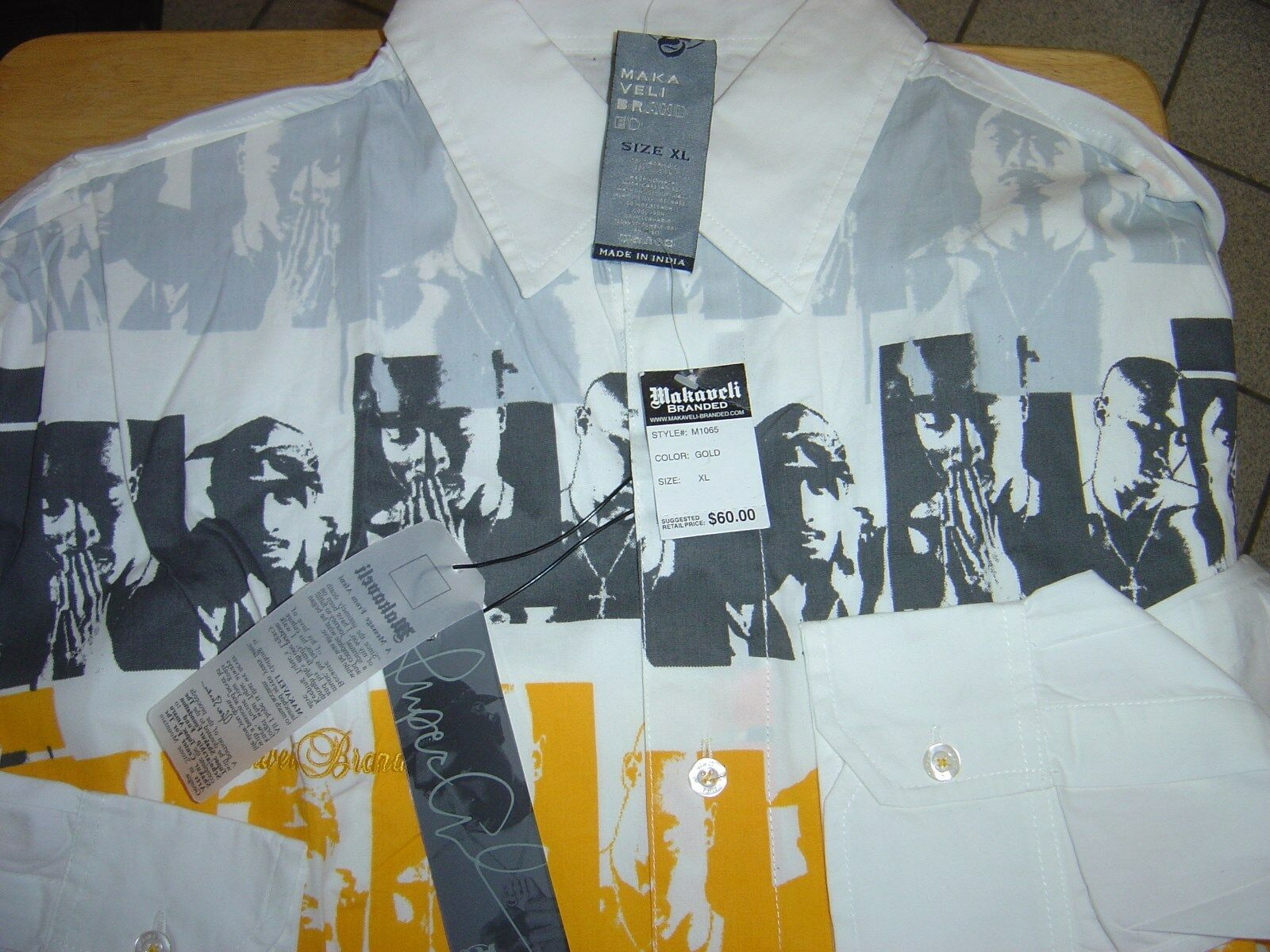 NEW MENS MAKAVELI WHITE GREY  L S SHIRT SIZE XL