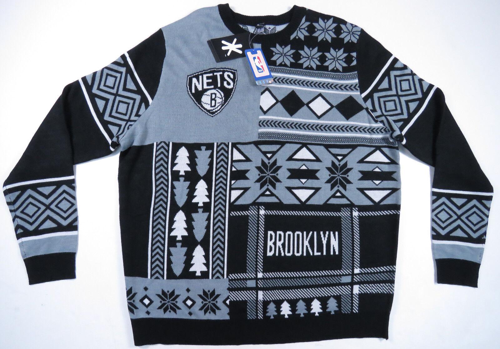 Brookly Nets Grau Schwarz Weiß Aufdruck Rundhals Rundhals Rundhals Pullover Herren XXL Neu Nwt a7910a